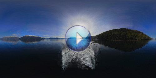 Rastros em 360 graus no espelho d'água