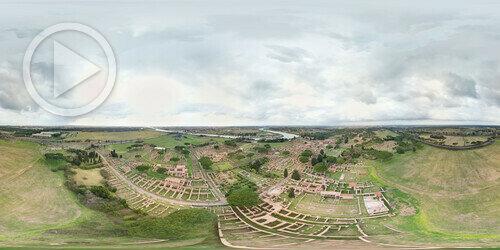 Vista aérea em 360° do Parque Arqueológico de òstia, Itália.